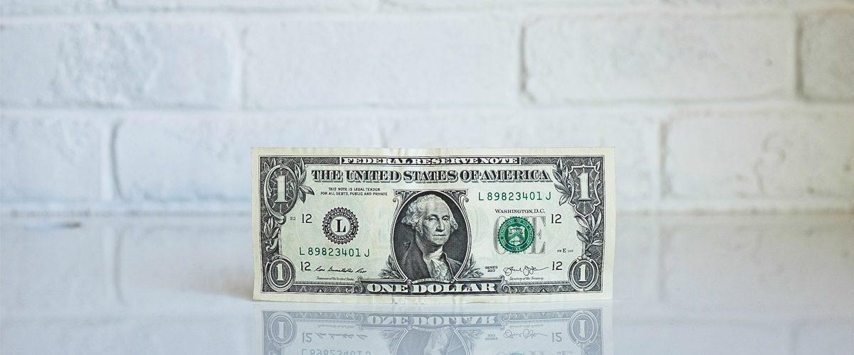 Billete de un dolar. Diseño de tiendas online